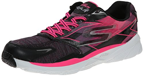 Skechers Performance Women's Go Run Ride 4 Heathered Running Shoe,Black/Hot Pink,6 M US