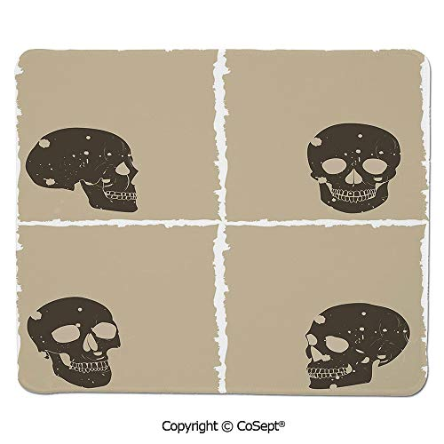 Gaming Mouse Pad,Skull Figure on Murky Flat Framework Halloween Crossbones Spooky Monster Image,Dual Use Mouse pad for Office/Home (15.74