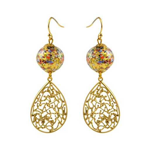 - Just Give Me Jewels Genuine Venice Klimt Style Mosaic Murano Glass Bead Teardrop Filigree Dangle Earrings