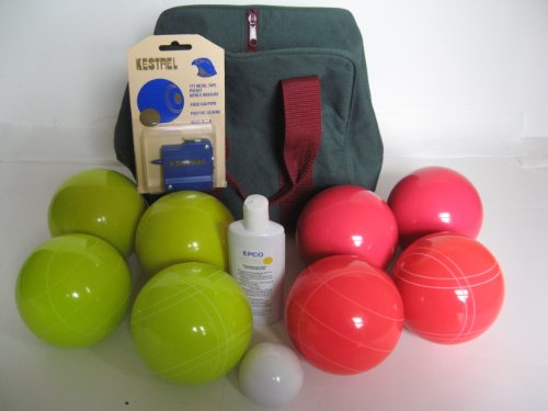 Premium Quality Basic EPCO Bocce package - 110mm Yellow and Light Red balls, quality nylon ba... by Epco
