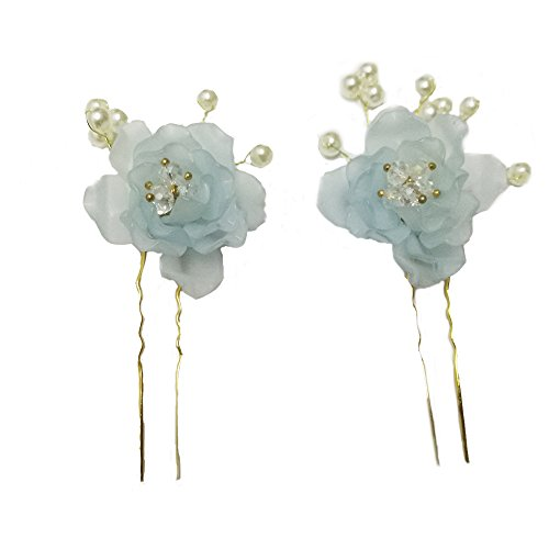 Handmade Hair Pins with Frosted Resin Pearl Flower Hair Accessories for Bridesmaids and Flower Girls Wedding Bridal Hair Clip Headdress (pack of 2) (Frosted light blue) ()