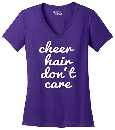 Ladies V-Neck Tee Cheer Hair Don't Care Purple 3XL