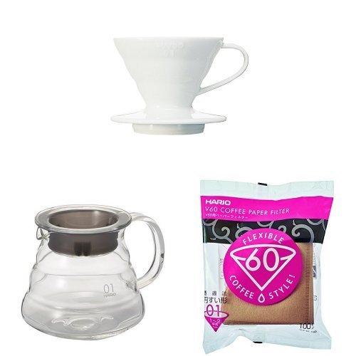 【세트 구매】HARIO (하리오) 커피 드 re《파》 세라믹 화이트 & 레인지 서버 & 전용 페이퍼 필터 1~2 배용 세트
