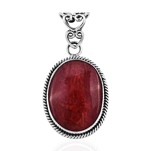 (Pendant 925 Sterling Silver Oval Sponge Coral Gift Jewelry for Women )
