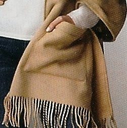 Cashmere Shawl with Pockets, Blended with Fine Lamb's Wool, Light Camel Xl