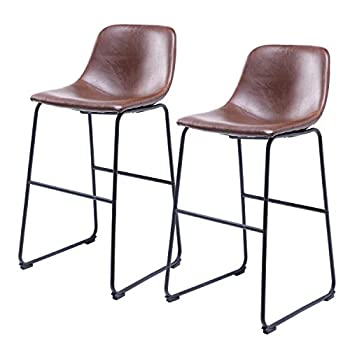 Image of Home and Kitchen 5Rcom Centiar PU Leather Bar Stools Set of 2 Barstools with Back and Footrest Rustic Bar Height Faux Leather Stool Chairs for Kitchen Home Office Pub Coffee,Brown
