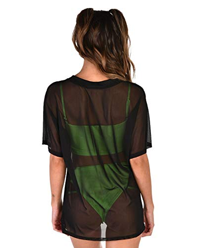 a92f018862b55 iHeartRaves Women's See Through Fishnet & Mesh Tee Shirts at Amazon Women's  Clothing store: