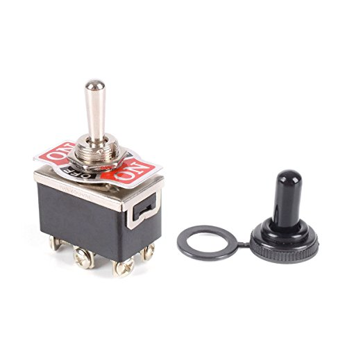 WINOMO Heavy Duty Toggle Switch Flick ON/OFF/ON Car Dash 12V DPDT with Waterproof Cap ()