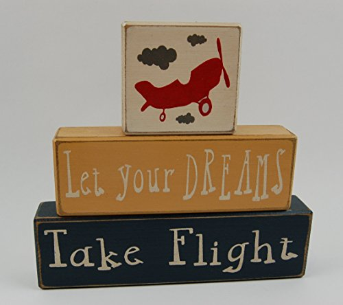 Let Your Dreams Take Flight - Primitive Country Wood Stacking Sign Blocks Airplane Home Decor- Birthday-Nursery Room-Baby shower