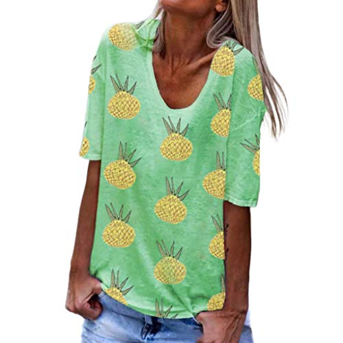 Haalife◕‿Plus Size Short Sleeve Tops for Women Sunflower Printed T Shirts Womens Casual Short Sleeve Tees Green