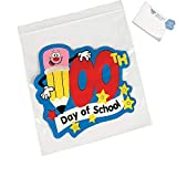 Bargain World 100th Day of School Resealable Treat Bags (With Sticky Notes)