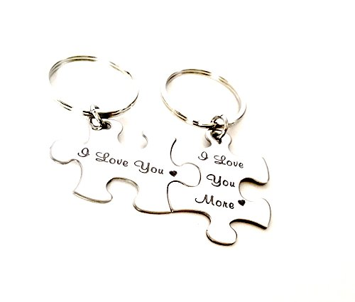 Custom Handstamped Puzzle Piece Couple's Keychains
