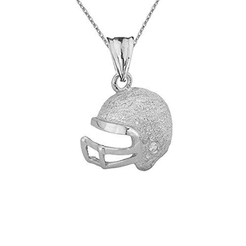 Fine Football Helmet Diamond in Textured 10k White Gold Pendant Necklace, (10k Gold Football Pendant)