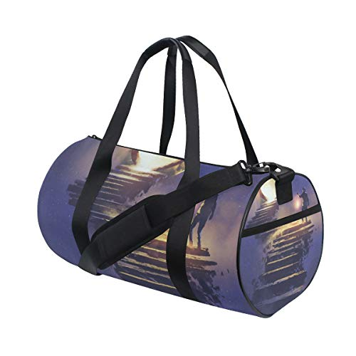 (ALLMILL Lightweight Duffle bag Man Lantern Walking On Stone Staircase Gym bags Oversize Sports bags weekend Overnight Travel handbag for men women student)