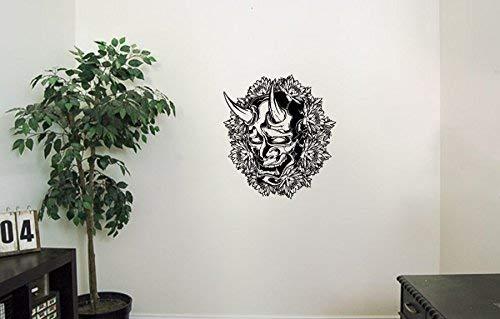 Oni Demon Mask Vinyl Wall Decals Horns Fangs Flowers Halloween Horror Decal Sticker Vinyl Murals Decors -