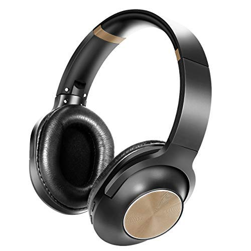 Wireless Bluetooth Headphones Over-Ear Headset with Powerful Bass Stereo Audio Running Collapsible Headsets for Cellphones PC (Gold)