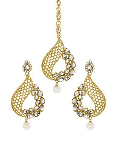 Engagement & Wedding Bridal & Wedding Party Jewelry Bindhani Indian Wedding Head Gold Plated Jewelry Maang Tikka Earrings For Women