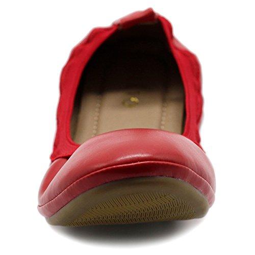 Flat Tab Women's Shoe Ollio Collar Comfort Red Pull Ballet FpvnBxwq