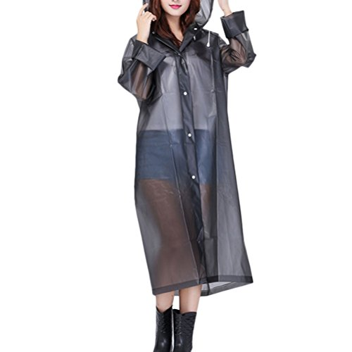 Zhhlaixing Outdoor Adult Hooded Raincoat PVC Waterproof Poncho Coat Long Sleeve Gray
