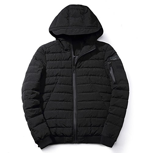 BENNINGCO Mens's Thickened Hooded Warm Cotton Padded Jacket(Black,3XL)