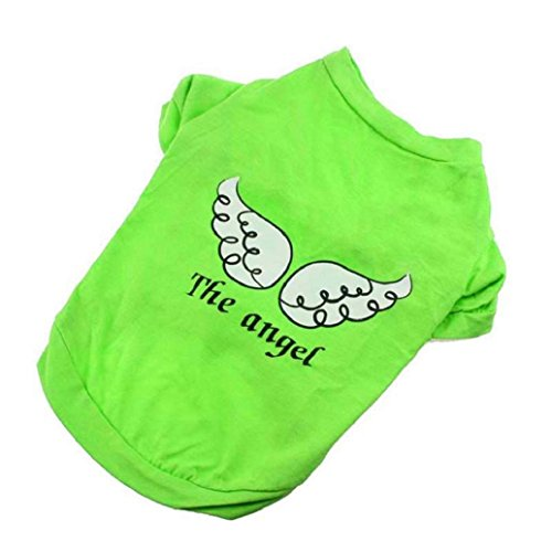 2017 Hot Pet Shirts! AMA(TM) Pet Puppy Small Dog Clothes Chihuahua Angel Printed Cotton Vest T-Shirt Doggy Apparel Costume (L, Green)