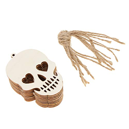 non-brand Pack of 10 Halloween Cutout Wooden Pieces Gift Tags Pumpkin/Cat/Spider/Crow/Wolf/Tombstone/Skull Head/Boots/Death/Witch Hat/Boo - Skull Head, 8 x 5.5 x 0.3 cm -