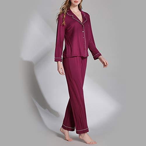 Rose scollo a a Pigiama con red maniche Size pigiami Wine lavorato Plus mod set MALLTY per V donna Color lunghe L pantaloni pigiama da di a maglia Size agEAnTq