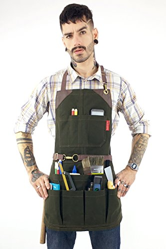 Under NY Sky Tool Forest Green Apron – Heavy-Duty Waxed Canvas, Leather Reinforcement, Extra Pockets – Adjustable for Men and Women – Pro Mechanic, Woodworker, Blacksmith, Plummer, Electrician Aprons by Under NY Sky