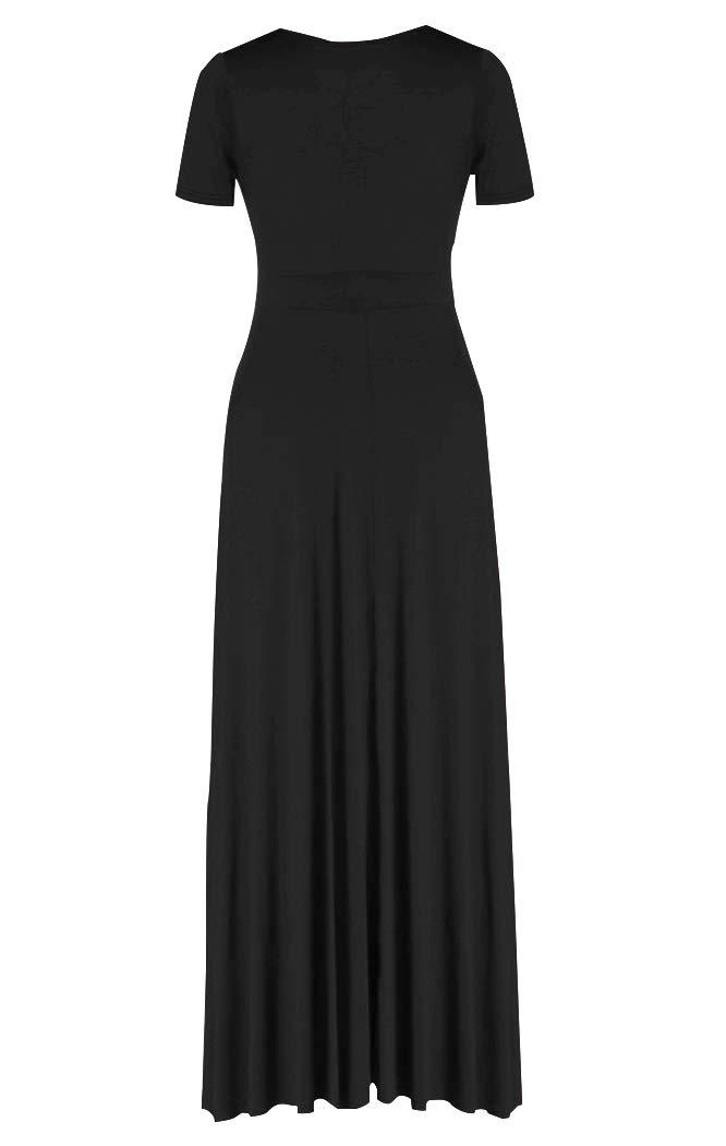 HWOKEFEIYU-Women-Short-Sleeve-Loose-Plain-Casual-Plus-Size-Long-Maxi-Dress