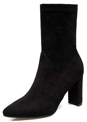 Easemax Women's Comfy Pointed Toe Faux Suede Block High Heel Pull On Mid Calf Martin Booties Black JKto0VPa