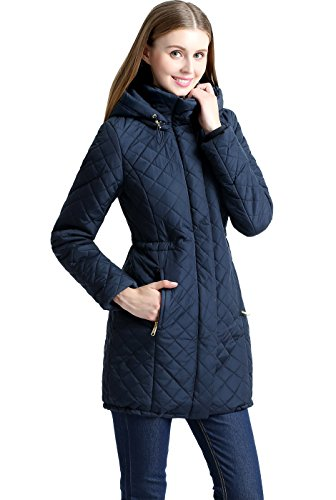 BGSD Women's Angela Waterproof Quilted Parka Coat - L Navy