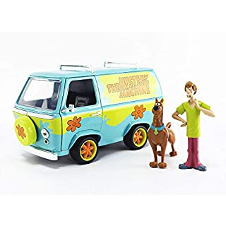 """Scooby-Doo 1:24 Mystery Machine Die-cast Car with 2.75"""" Shaggy and Scooby Figures, Toys for Kids and Adults"""