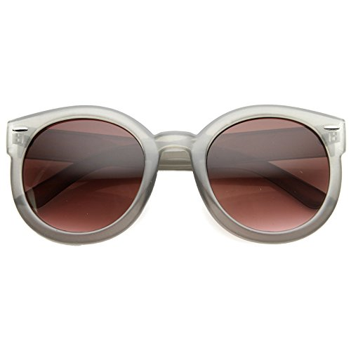 zeroUV - Womens Plastic Sunglasses Oversized Retro Style with Metal Rivets (Grey Frost / Plum) (Plastic Sunglasses Women)