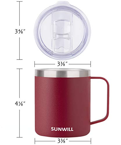 SUNWILL 14 oz Coffee Mug, Vacuum Insulated Camping Mug with Lid, Double Wall Stainless Steel Travel Tumbler Cup, Coffee…  