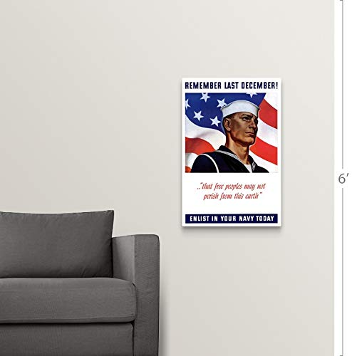 Enlist In Your Navy 20x30 Remember Last December Ww2 Navy Poster