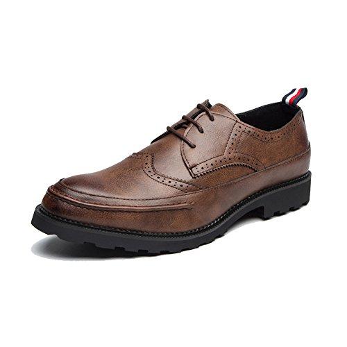 確認するグラマーボードSLJ革靴 ビジネスシューズ メンズ レースアップ 外羽根 ブロック 紳士靴 彼氏 24.5-27.5cm