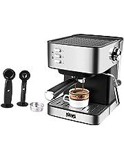 FLAMEER Rostfritt stål 15 bar espressomaskin latte cappuccino mjölkskummare 1,6 l avtagbar vattentank för hemmakontor restaurang klubb café etc.