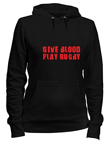 Trug0107 Cappuccio Blood Give Speed Logo Felpa Rugby Play Nero Donna Shirt XpwttPqnFa