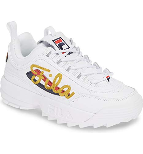 Fila Women's Disruptor II Embroidery Shoes (5, Premium Script Gold - - Embroidered Hoodie Graphic