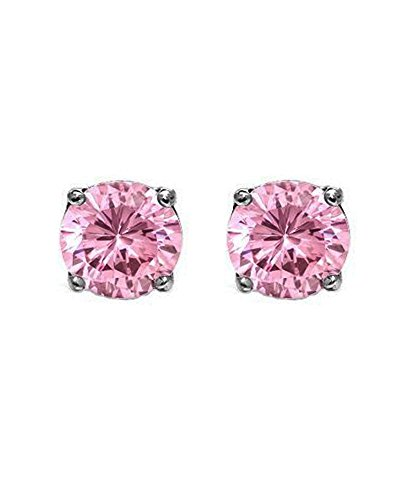 Pink Round Cut Cubic Zirconia CZ Sterling Silver Stud Earrings 7mm