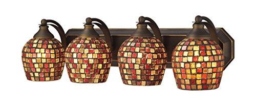 (Elk 570-4B-MLT 4-Light Vanity in Aged Bronze and Multi Mosaic Glass)
