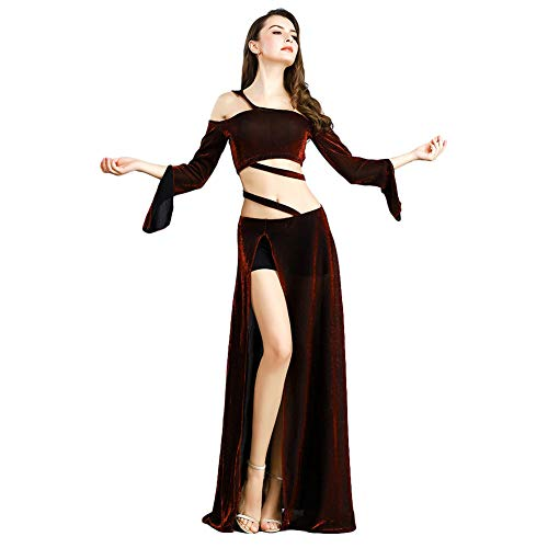 ROYAL SMEELA Belly Dance Costume for Women Belly Dancing Skirts Off Shoulder Tops Long Sleeve Maxi Dress Bellydance Outfit Red]()