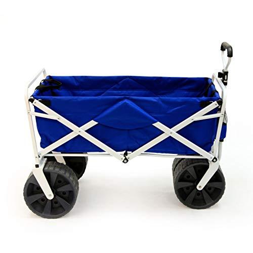 Fold N-lock Unit - Mac Sports Heavy Duty Collapsible Folding All Terrain Utility Beach Wagon Cart, Blue/White