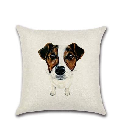 StMelody Cute Pet Dog Cotton Linen Pillow Cover Home Decoration Sofa Square Pillowcase Car Cushion Cover (H05)