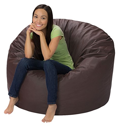 Comfy Sacks 4 ft Memory Foam Bean Bag Chair, Brown Faux Leather (Leather Bag Brown Bean)