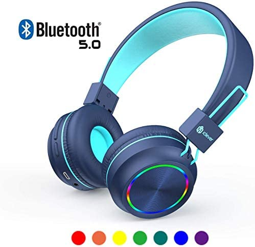 iClever Kids Headphones Bluetooth – Colorful Lights Headphones for Kids with MIC, Volume Control Foldable – Childrens Headphones on Ear for iPad Tablet Kindle Airplane School,Blue