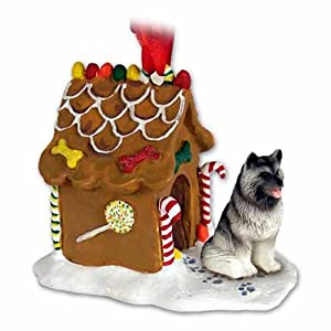 Eyedeal Figurines KEESHOND Dog NEW Resin GINGERBREAD HOUSE Christmas Ornament 32 3