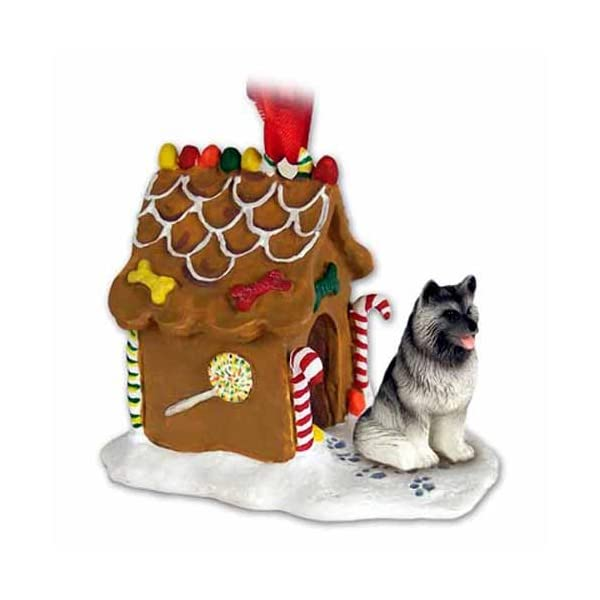 Eyedeal Figurines KEESHOND Dog NEW Resin GINGERBREAD HOUSE Christmas Ornament 32 1