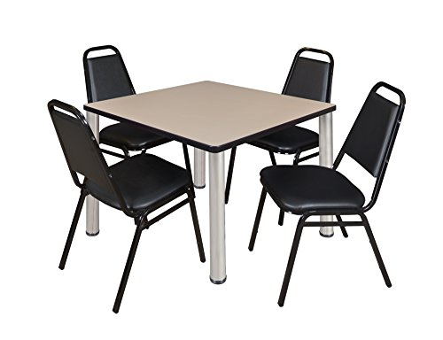 """Kee 36"""" Square Breakroom Table- Beige/ Chrome & 4 Restaurant Stack Chairs- Black"""