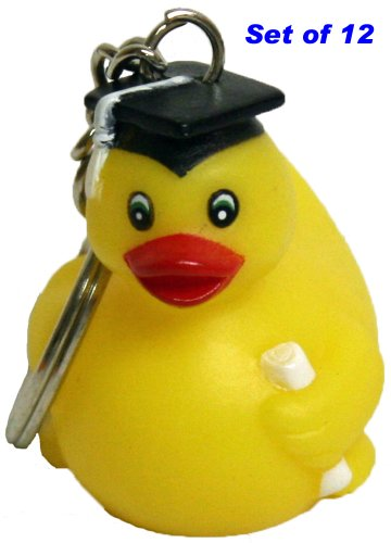 waddlers Rubber Ducks Graduation Keychain Gift Pack of 12, Brand Education Themed Lively Mini Graduation Rubber -
